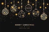 新しい10x7ftビニール抽象的なクリスマス写真の背景ゴールドスタースノーフレークボールメリークリスマスとハッピーニューイヤーバナー新生児大人の肖像写真の背景クリスマスパーティースタジオの小道具