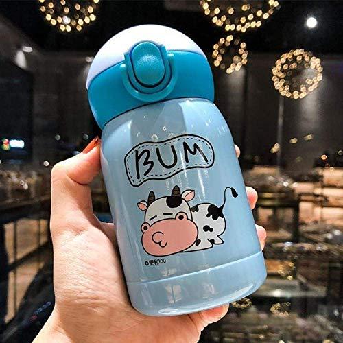 BECCYYLY 200 / 300ml Vaca Acero Inoxidable matraz de vacío Taza de Paja Taza de Viaje Taza de Dibujos Animados Botella de Agua aislada Termo Taza, 200ml, 200-300ml wmpa