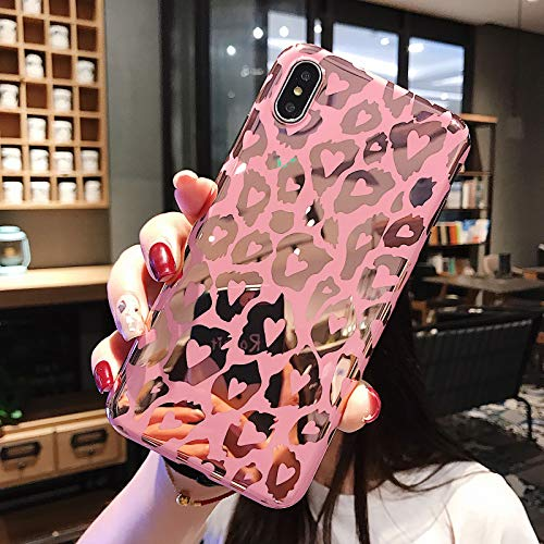 WQDWF Leopard Print Gold Phone Case Cover For Iphone 11 Pro XS Max XR X 8 7 6 6S Plus Soft Back Cases Fashion Shell,Pink,For iphone X