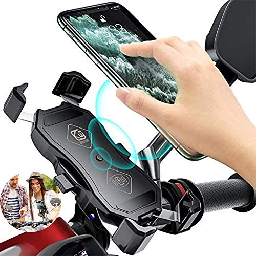 Soporte Movil Bici con Carga Inalámbrica y Carga USB Universal Rotación 360°Soportes Movil para Moto Bicicleta Adecuado para Teléfonos Apple y Android