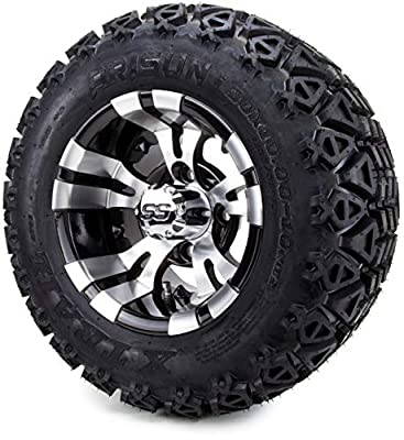"""10"""" Vampire Machined Black Golf Cart Wheels and All Terrain Tires Combo Set of 4"""