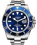 LOREO Luxury Mens Silver Stainless Steel Luminous Sapphire Glass Black Rotating Bezel Date Waterproof Business Men's Automatic Watch (Silver/Blue)