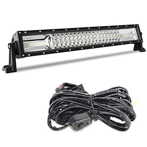 Barra de luces LED de trabajo Spot Flood Combo de 22 pulgadas para camión, coche, ATV, SUV, 4x4, camión, barco, lámpara de conducción y kit de cableado (22 pulgadas)