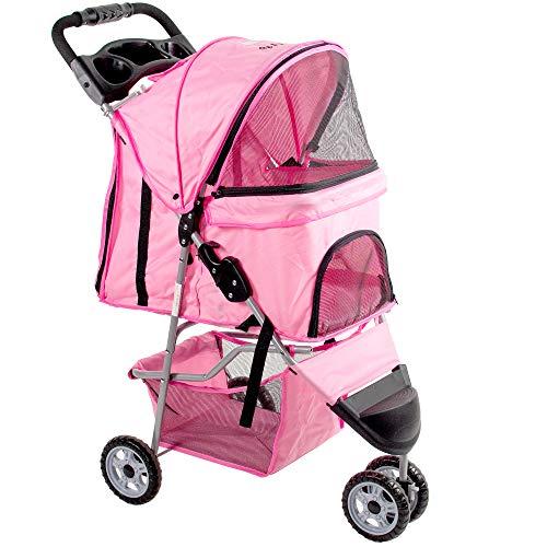 VIVO Pink 3 Wheel Pet Stroller for Cat, Dog and More | Foldable Carrier Strolling...