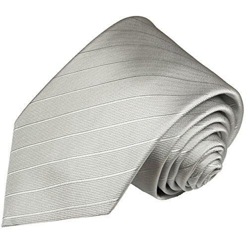 Cravate homme argenté uni rayée 100% soie