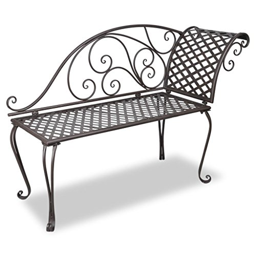 vidaXL Garden Chaise Lounge 128cm Steel Antique Brown...