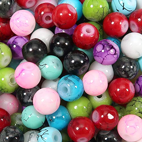 TOAOB 100 Piezas Multicolor Patrón de Mármol Cuentas de Vidrio de 6 mm Perlas de Cristal Redondas Abalorios de Cristal para Hacer Bisuteria Joyas y Manualidades Collares Pulseras Accesorios