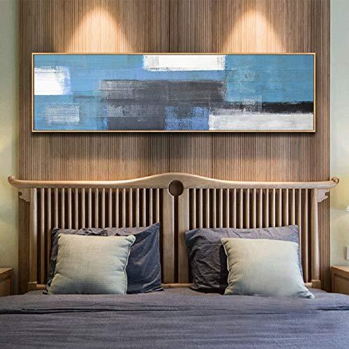 Nordische lange Leinwand blau und weiß abstrakt Watecolor Leinwand druckt Poster Wandkunst Leinwand Gemälde für Wohnzimmer Home Decor 20x80 CM (Kein Rahmen)