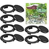 GNOUQW 6 Stück Schirmloch Ring Kunststoff Tischschirm Loch Ring mit Kappe Patio Tischschirm Loch Ring für Outdoor Regenschirm Terrassentisch Terrasse Schirm Stecker (Schwarz 4.2cm)