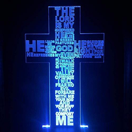 Halloween Lichter Hirtenpsalm Jesus Christus Kreuzförmige Usb 3D Led Nachtlicht Geschenke Schreibtisch Kruzifix Tischlampe Schlafzimmer Der Herr Ist Mein Hirte
