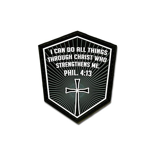BASTION Morale Patches (Phil. 4:13, Gray) | 3D PVC Patch with Hook & Loop Fastener Backing | Well-Made | Military Combat Badge Patches Ideal for Tactical Bag, Hats & Vest