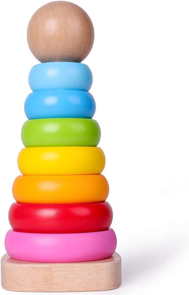 844 opinioni per Rolimate Giocattolo Impilatore Anelli in Legno Rainbow Tower Giocattolo