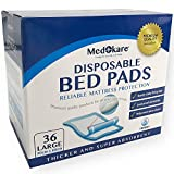 Disposable Incontinence Bed Pads - Hospital Grade, 1500ml Absorbent Disposable Bed Mats - Waterproof Mattress Pee Pad for Puppy Potty Training, Kids, Adults - Adhesive, 36Pads w/Tags