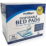 Almohadillas de cama desechables para incontinencia Medokare, colchonetas absorbencia grado hospitalario de 1500ml, protección colchón impermeable súper absorbente adultos y niños mojados, 10g SAP