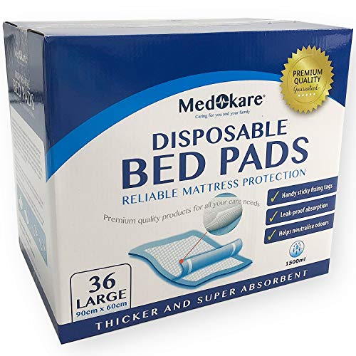 Medokare Disposable Incontinence Bed Pads - Hospital Grade 1500ml Super Absorbent Disposable Bed Mats for Bedwetting, UnderPad for Kids, Waterproof Mattress Pad Protector with Adhesive -36Pads w/Tags