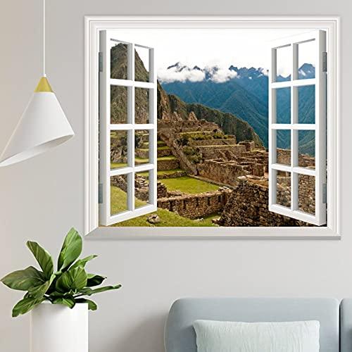 DKISEE Machu Picchu Perú 3D ventana vista pared calcomanía papel pintado 34x92 pulgadas – Peel and Stick Mural Art Wall Decal calcomanía para sala de estar, dormitorio guardería - wpw1558