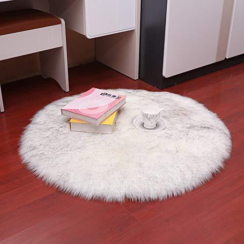 YIWOYI Alfombra de piel sintética, circular, 30 x 30 cm, alfombra de piel de oveja artificial para dormitorio, alfombra de lana artificial, asiento de piel textil, punta gris blanca, 30 x 30 cm