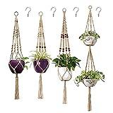 Paquete de 4 perchas de macramé para plantas, cesta colgante con cuentas de madera para macetas decorativas para decoración interior y exterior con 4 ganchos