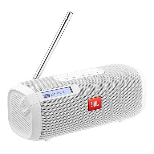 JBL Tuner Radiorekorder - Tragbarer Bluetooth Lautsprecher mit DAB+ und UKW Radio - MP3 fähige Musikbox - Bis zu 8 Stunden kabellos Digitalradio genießen Weiß