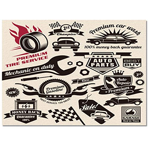 Large Rectangle Area Rugs Shape Durable Low Pile 4' x 6', Washable Runner Rugs Carpet Floor Cover Anti-Slip Rubber Backing Mat, Car Repair Shop Logos Monochrome Car Silhouettes Best Garage in Town