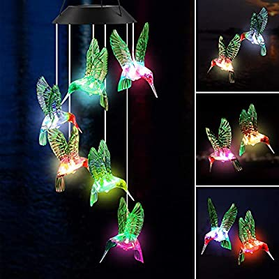 ecoeco Wind Chimes Outdoor Solar Hummingbird Wind Chimes Color Changing LED Mobile Wind Chime Birthday Gifts for Mom, Hanging Decorative Romantic Patio Lights for Yard Garden Home Party
