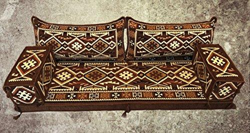 5 Teilige Set Sark Kösesi Orientalische Sitzecke,Sitzkissen Set Braun 190cm Komplett gefüllt
