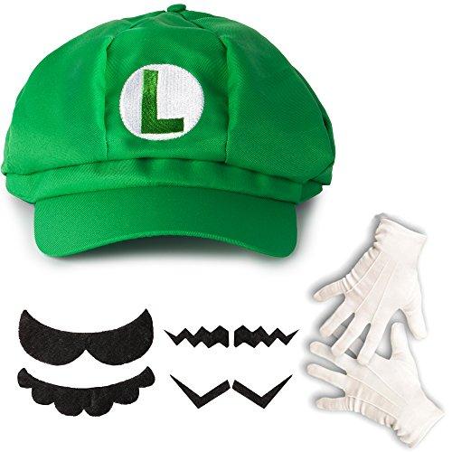 Katara 1659 Kit Costume de Super Mario Bros - Casquette de Luigi, Gants Blancs, 6 Fausses Moustaches Enfants Adultes, Verte