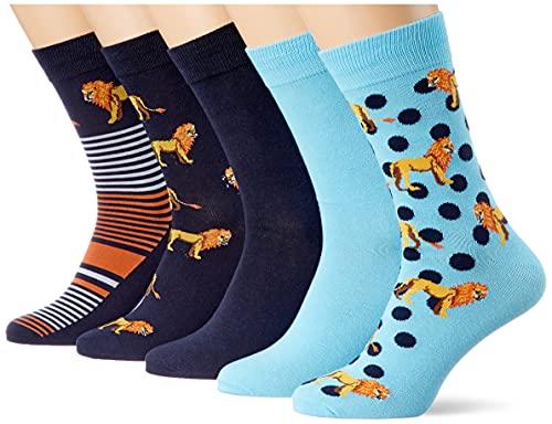 JACK und JONES Herren JACLION 5 Pack Socken, Navy Blazer/Detail:Navy Blazer-Baltic sea-Baltic sea-Navy Blazer, (5er Pack)