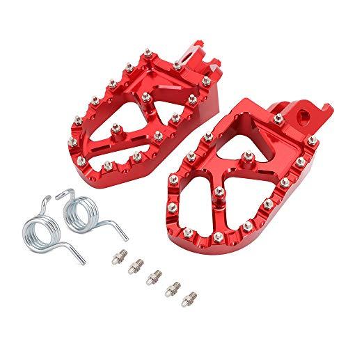 JFG RACING Pedales de pie anchos CNC para motocicleta para H.o.n.d.a CR125 CR250 CRF150R CRF250R CRF250X CRF250RX CRF450R CRF450RX CRF450X CRF250L CRF250M CRF250RALLY CRF450RALLY L-Rojo