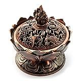 Encens Bol avec Couvercle, Brûle-encens, aussi comme Encens Coupelle, en laiton pour encens ou Bâtonnets d'encens, cône, cuivre