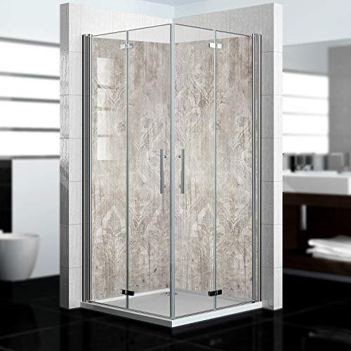 dedeco Eck-Duschrückwand wasserfest mit Holz V2 Motiv - 2 x 90x200cm, als Badrückwand zum Fliesenersatz, für viele Bäder als Dekorwand, Wandverkleidung und Duschplatte aus Aluminium - Made in Germany