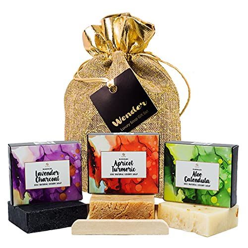 Handmade Soap Bar Gift Set - 100% Natural,Organic Luxury Face & Body Cleansers-Turmeric Soap-Lavender Soap-Aloe Soap,Lavishly Made With Olive & Coconut Oils + Shea Butter + Soap Dish.Unique Gift Idea