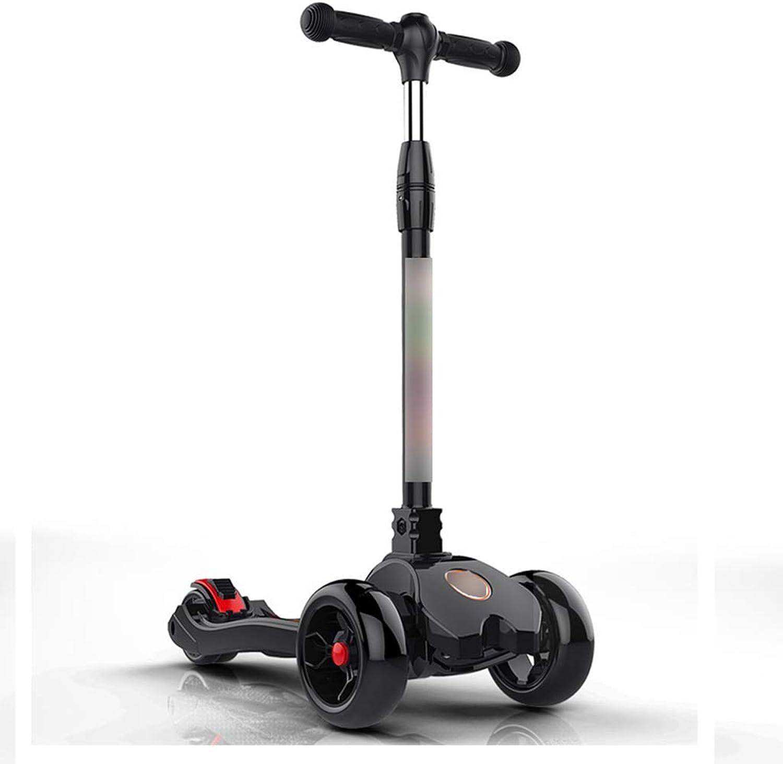 Envío 100% gratuito Scooter Scooter Scooter para Niños Scooter Scooter Plegable de Cuatro Ruedas Flash Scooter Adecuado para Niños de 3 a 14 años (Color   negro)  echa un vistazo a los más baratos