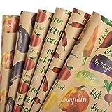 RUSPEPA Hojas De Papel Para Envolver Papel Kraft - Diseño De Frutas Y Verduras De Colores - 44,5 X 76 cm Cada Hoja, Total De 6 Hojas Empaquetadas En 1 Rollo