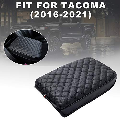 JKCOVER Premium Center Console Cover Compatible with Tacoma 2016 2017 2018 2019 2020 2021 PU Leather Car Armrest Cushion Protector (Black)