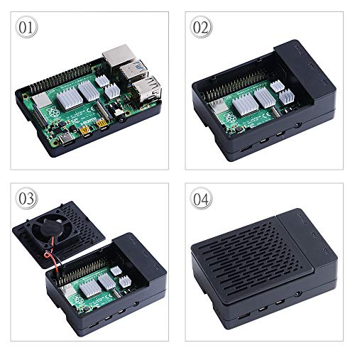 GeeekPi Raspberry Pi 4 Case, Raspberry Pi 4 Case with Fan 40X40X10mm and 4pcs Raspberry Pi 4 Heatsinks for Raspberry Pi 4 Model B (Black)