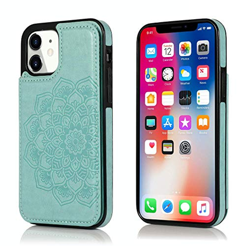 UNKNOK Compatible with iPhone 12 Mini Case, Wallet Case with Card Holder, Slim Premium PU Leather Embossed Mandala Flower Double Magnetic Clasp Flip Cover for iPhone 12 Mini 5.4 Inch