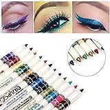 12 Colori Colorati Fodere Per Gli Occhi, Matita Per Eyeliner Glitter, Matita Per Labbra Set Di Matite Glitter, Penna Per Ombretto Per Eyeliner Liquido Glitter Resistente a Lunga Tenuta