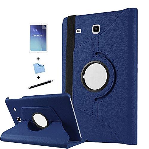 TIODIO 4 en 1 Case Cover Custodia per Samsung Galaxy Tab E 9.6-Inch SM-T560/SM-T561 Cover in Ecopelle con Meccanismo di Rotazione di 360° per Posizionamento Verticale ed Orizzontale del Tablet,Pellicola di Protezione e dello stilo Incluse, Blu