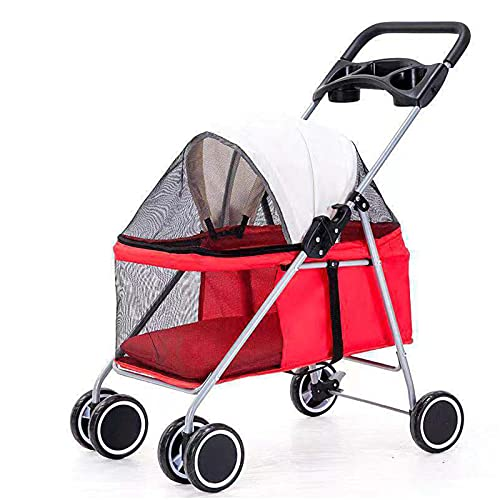 Pet Stroller, Dog Pram Dog Carrier,Detachable, Outdoor Portable Folding Pet Stroller, Strong Bearing Capacity, Washable, Convenient To Travel,A