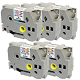5 Compatibili Cassettes TZe-251 TZ-251 nero su bianco 24mm x 8m Nastri laminati per Brother P-Touch PT-2430PC 3600 9600 9700 9800 D600VP D800W E300VP E550WVP E850 H500 H500LI P700 P750W Etichettatrici