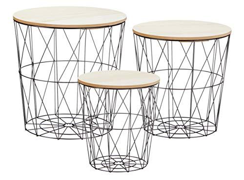 Mesa auxiliar de metal con espacio de almacenamiento negro – Juego de 3 unidades / tableros de mesa claros – Mesa de salón con tablero de madera extraíble – Cesta de metal para sofá mesa de café