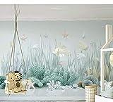 Wandbilder Tapete Sea World 3D Catoon Für Wände Baby-Kinderzimmer-Hintergrund 3D-Wandbild-Wandpapier 3D Karikatur-Aufkleber-280X200Cm,Wandbild