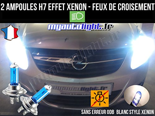 MyAutoLight- Pack ampoules H7 blanc xenon feux croisement-code pour CORSA D