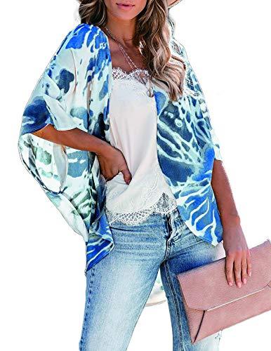 Floral Kimonos for Women Flowy Flower Print Vintage Cardigan Lightweight Summer Cover ups L Blue Sea