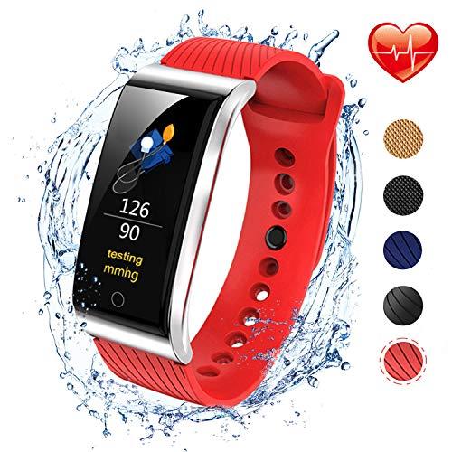 iSwim Pulsera Actividad, Pulsera Inteligente con Pulsómetro Pulsera Deportiva y Monitor de Ritmo Cardíaco Monitor de Actividad (Rojo de sílice)