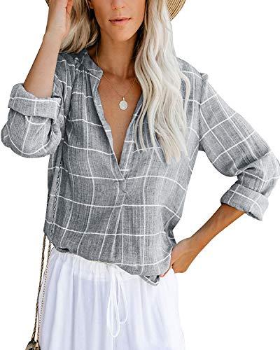 Damen Bluse Langarm Elegant Oberteil V-Ausschnitt Casual Tops Lose Langarmshirt Vintage Tunika Shirts(gy,XXL)