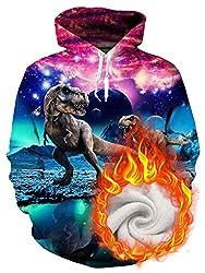 1. Uideazone Cosmic Dinosaurs Velvet Pullover Hoodie
