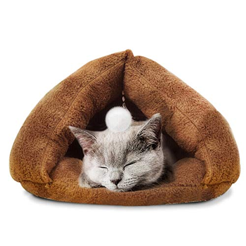 XiuHUa huisdier nest huisdier kat slaapzak kat nest mat katoen pad kennel vier seizoenen universele wasbare kitten kat nest - bruin huisdier benodigdheden, 50 * 45cm