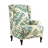 WAQIA Elegant Wing Chair Slipcovers Stretchy Wing Back Armchair Sofa Covers, Floral Printed Slipcovers for Wingback Chair Furniture Protector in Living Room, with A Seat Cushion Cover (Green)
